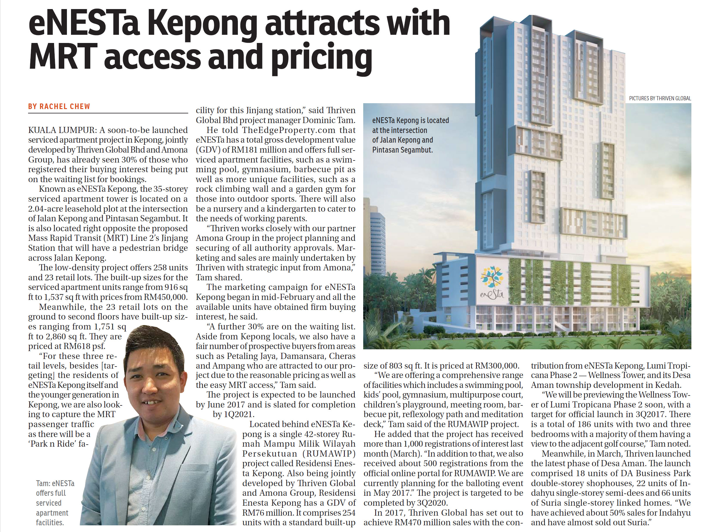 eNESTa Kepong attracts with MRT access & pricing